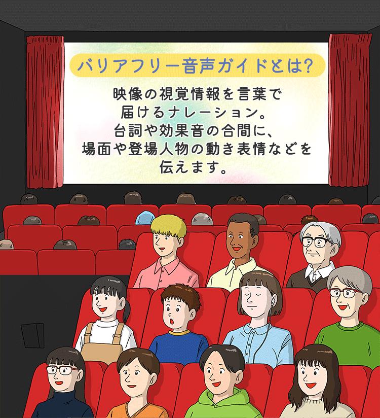 バリアフリー音声ガイドとは? 映像の視覚障害を言葉で届けるナレーション。台詞や効果音の合間に、場面や登場人物の動き表情などを伝えます。